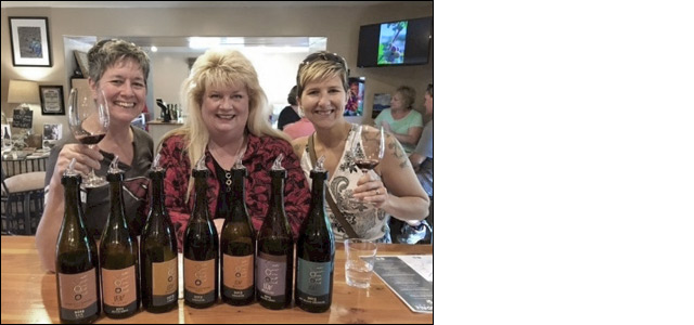 Peggy Fiandaca with friends, enjoying a glass of LDV wine